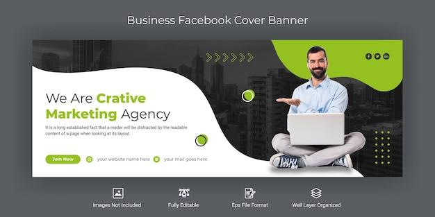 Kreatywna agencja marketingowa szablon banera na okładkę na facebooku