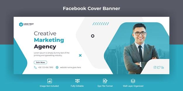 Kreatywna agencja marketingowa w mediach społecznościowych szablon banera na okładkę na facebooku
