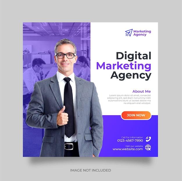 Kreatywna agencja marketingu cyfrowego korporacyjny post w mediach społecznościowych i szablon banera internetowego