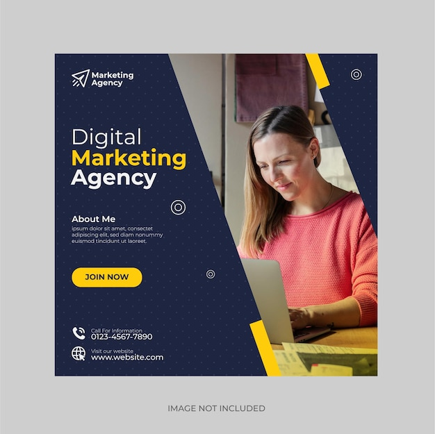 Kreatywna agencja marketingu cyfrowego post w mediach społecznościowych i szablon banera internetowego