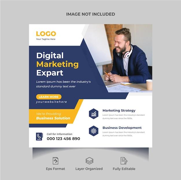 Kreatywna agencja marketingu cyfrowego projektowanie postów w mediach społecznościowych lub edytowalny baner internetowy premium wektorów