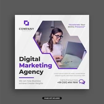 Kreatywna agencja marketingu cyfrowego szablon projektu postu w mediach społecznościowych kwadratowa ulotka lub edytowalny baner internetowy premium