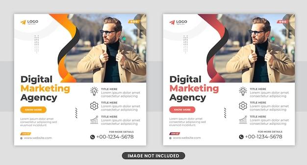 Kreatywna agencja marketingu cyfrowego w mediach społecznościowych szablon postu na facebooku