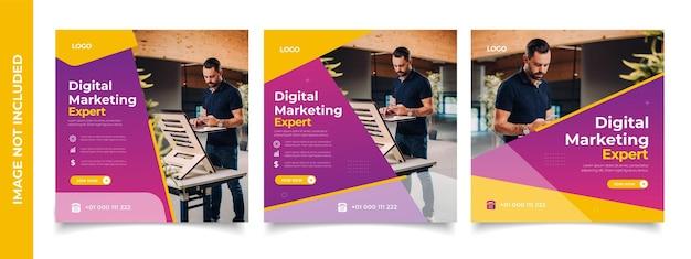 Kreatywna cyfrowa agencja biznesowa w mediach społecznościowych projekt szablonu postu promocja banerów reklama korporacyjna