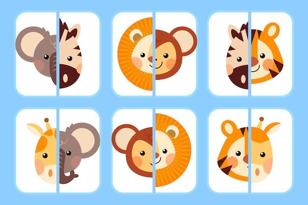 Kreatywna gra polegająca na dopasowywaniu zwierząt