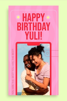 Kreatywna historia urodzinowa yuli na instagramie