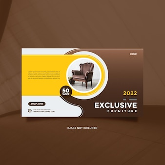 Kreatywna i nowoczesna sprzedaż mebli na post w mediach społecznościowych i baner w kolorze brązowym i żółtym