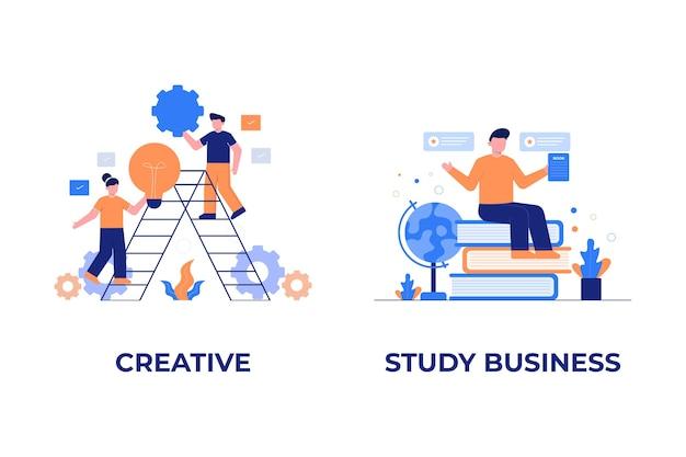 Kreatywna i studium biznesowa płaska ilustracja