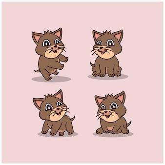 Kreatywna ilustracja kot kreskówka maskotka postać zwierzęcia znak logo projektu szablonu