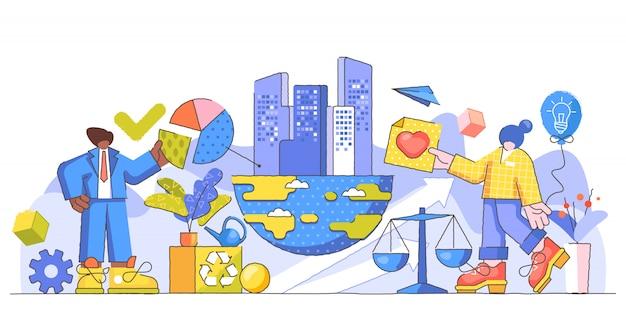Kreatywna ilustracja odpowiedzialności korporacyjnej