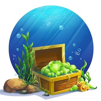 Kreatywna ilustracja otwarta skrzynia z ilustracją szmaragdów