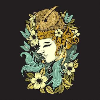 Kreatywna ilustracja plemiennej kultury jawajskiej