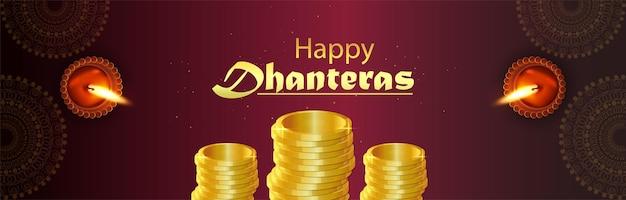 Kreatywna ilustracja sztandaru shubh dhanteras ze złotą monetą