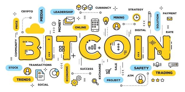 Kreatywna ilustracja typografii bitcoin żółty słowo z ikonami linii i chmurą tagów