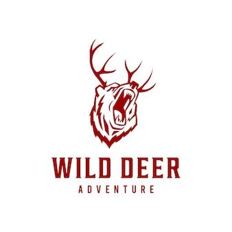 Kreatywna ilustracja vintage jelenia dzikie zwierzę logo szablon wektor