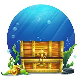 Kreatywna ilustracja zamknięta drewniana stara magiczna ilustracja klatki piersiowej