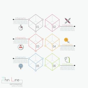 Kreatywna infografika, 6 ponumerowanych przezroczystych kostek
