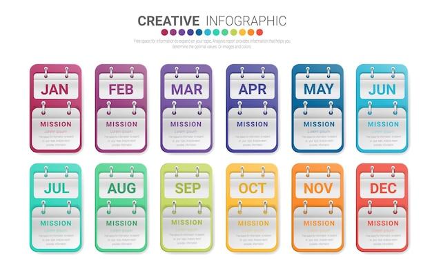 Kreatywna infografika z kalendarzami miesięcznymi