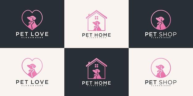Kreatywna inspiracja do projektowania logo zwierząt domowych z luksusowym różowym kolorem gradientu premium vekto