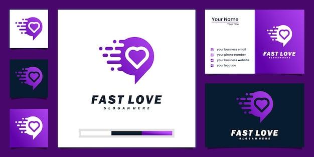 Kreatywna inspiracja logo szybkiej miłości i projektowanie wizytówek