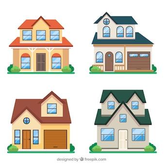 Kreatywna kolekcja czterech domów