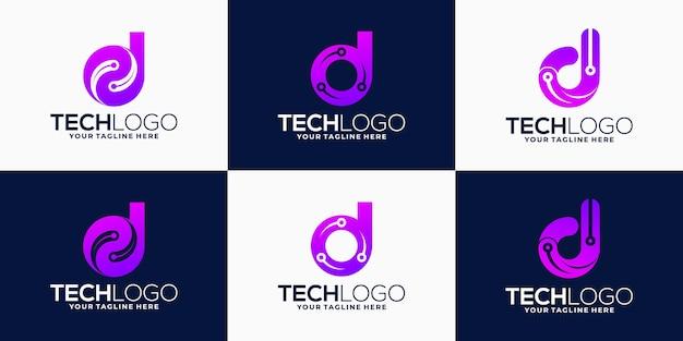 Kreatywna kolekcja logo firmy z gradientem litery d w technologii abstrakcyjnej