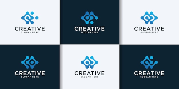 Kreatywna kolekcja logo litery c w technologii