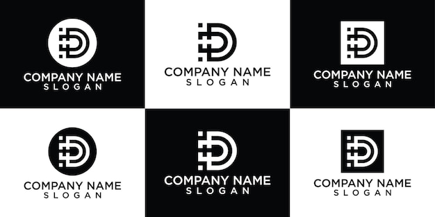 Kreatywna kolekcja logo litery d