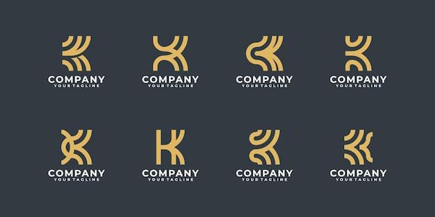 Kreatywna kolekcja logo litery k z monogramem