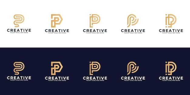 Kreatywna kolekcja logo monogram litera p szablon projektu