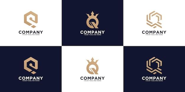 Kreatywna kolekcja logo monogram litera q