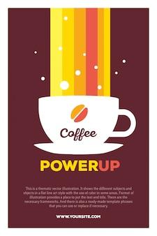 Kreatywna kolorowa ilustracja filiżanki kawy i tęczy z zasilaniem nagłówka kawy i tekstem na brązowym tle.