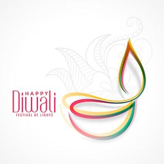 Kreatywna kolorowa lampa diya na festiwal diwali