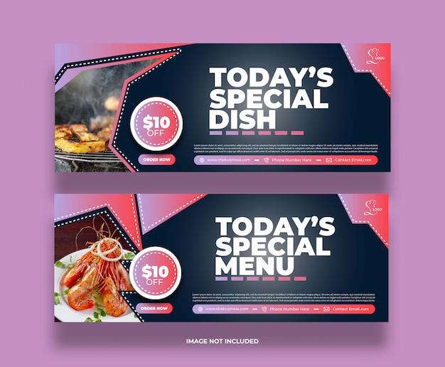 Kreatywna koncepcja jedzenie pyszne restauracja w mediach społecznościowych post banner