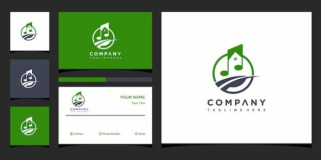 Kreatywna koncepcja logo domu muzycznego i wizytówka premium wektor