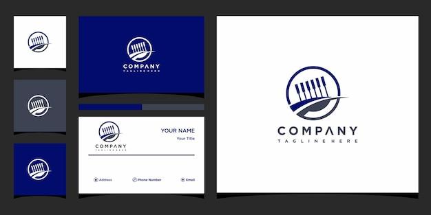 Kreatywna koncepcja logo fortepianu i wizytówka premium wektor