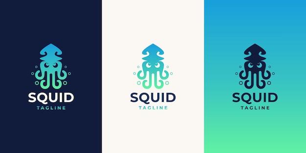 Kreatywna koncepcja projektowania logo kałamarnicy z inspiracją nowoczesnego designu w kolorze gradientu.