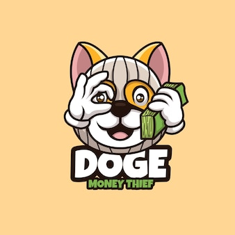 Kreatywna kreskówka doża maskotka logo złodziej pieniędzy logo znaków