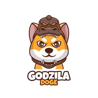 Kreatywna kreskówka godzila doge shiba inu dog cute logo