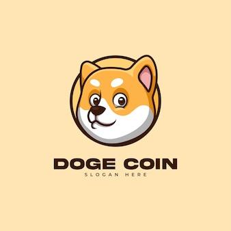 Kreatywna kreskówka logo shiba inu dogecoin doge