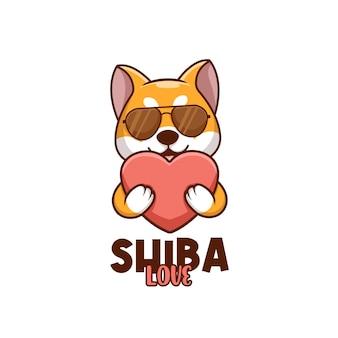 Kreatywna kreskówka miłość doża shiba inu pies słodkie logo