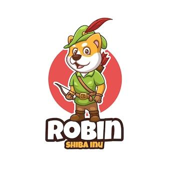 Kreatywna kreskówka robindoge logo maskotki postaci shiba inu