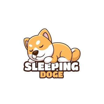 Kreatywna kreskówka śpiąca doża pies shiba inu słodkie logo