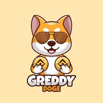 Kreatywna kreskówka trzymając monetę doge shiba inu dog cute logo