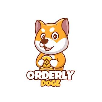 Kreatywna kreskówka uporządkowana doża shiba inu pies słodkie logo