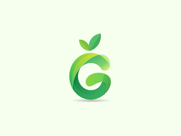 Kreatywna litera g z logo liścia