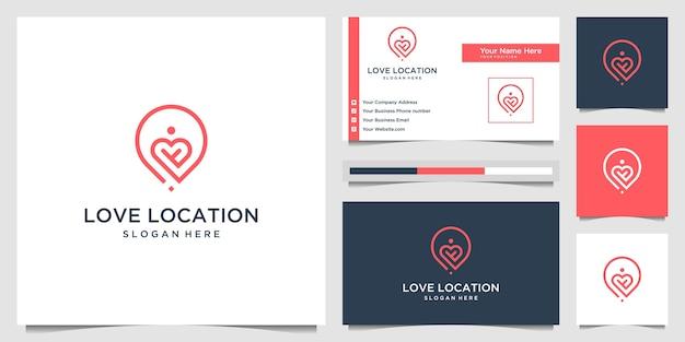 Kreatywna miłość lokalizacja logo koncepcja linii stylu sztuki. połącz projekt logo serca, pinezki, mapy i ludzi oraz wizytówkę