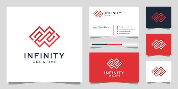 Kreatywna minimalistyczna linia nieskończoności. projekt logo premium i wektor wizytówki.