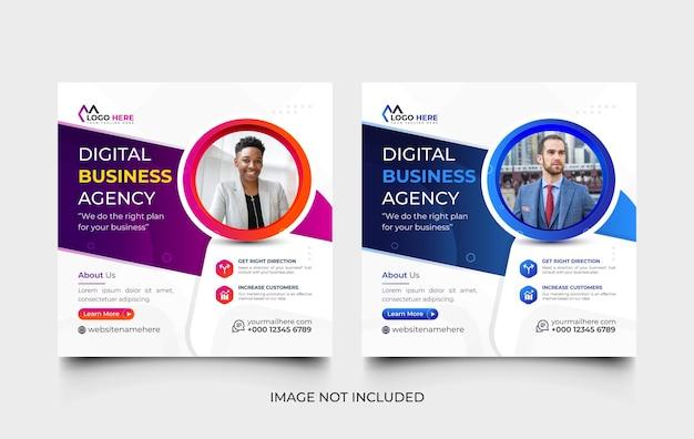Kreatywna nowoczesna agencja marketingu cyfrowego szablon postów w mediach społecznościowych i zestaw szablonów banerów internetowych