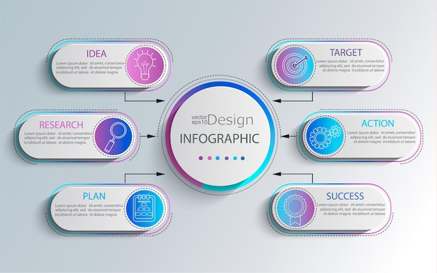 Kreatywna nowoczesna infografika z wizualizacją danych biznesowych na osi czasu. schemat z 6 krokami, opcjami, częściami i procesami. szablon prezentacji, układ przepływu pracy, baner, projektowanie stron internetowych. ilustracja wektorowa.